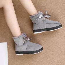 Winter Warm Fur Lining Ankle Boots Women Non-slip Flat Lace Up Snow Boots Preppy