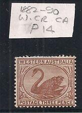 Western Australia stamp three pence 3d 1882 P14 mint unused hinged wm cr ca