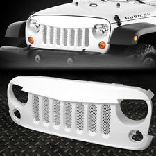 FOR 07-17 JEEP WRANGLER GLOSS WHITE FRONT BUMPER ANGRY BIRD DIAMOND MESH GRILLE