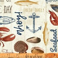 Fresh Catch of the Day 51074-2 Cotton Quilt Fabric Windham By the Yard