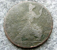 GREAT BRITAIN GEORGE II 1738 ? HALFPENNY, US COLONIAL COIN, COPPER