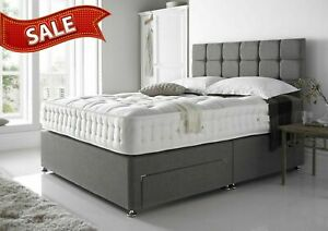 GREY CREAM BROWN SUEDE DIVAN BED BASE - SMALL DOUBLE KING - STORAGE - HEADBOARD.