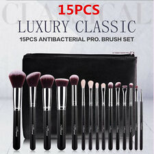 15Pcs Professional Makeup Brushes Set&Kit PU Leather Cosmetics Case Bag MSQ US
