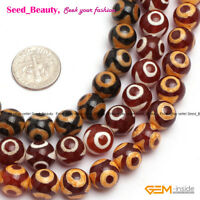 "Evil Eye Beads Agate Jewelry Making Beads 15"" 6-10mm Tibetan Dzi Mala Beads"