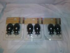 Levolor Curtain Rod Finials Black Pinecone1 3/8 in. Lot of 3 Sets of 2 Metal