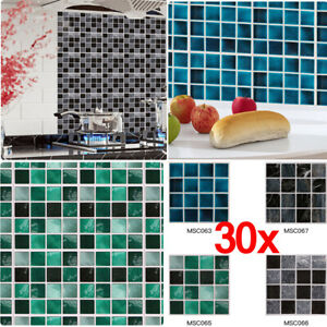 30X Mosaic Tile Stickers Stick On Bathroom Kitchen HomeWall Decal Self-adhesive