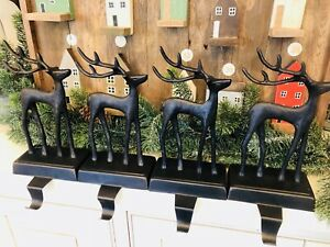 Pottery Barn SANTAS SLEIGH Deer Stocking Holders CHRISTMAS REINDEER Bronze Set 4
