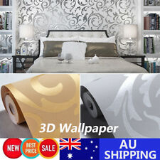 10M Gold / Silver Wall Paper Roll Damask Embossed Feature 3D Textured Wallpaper