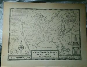 Daniel K. Wallingford A New Yorker's Idea Of United States Of America MAP c.1935