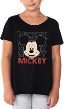 Disney Girls Mickey Mouse T-Shirt Glitter Hi-Lo Hem Black
