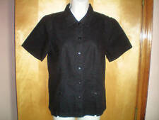 NEW NWT womens black CHRISTOPHER &BANKS fitted s/s linen shirt size S free ship