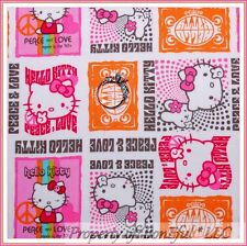 BonEful FABRIC Cotton Quilt Pink White Circus Hello Kitty Peace Heart Dot SCRAP