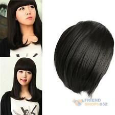 Fashion Charming Clip On Bangs Fringe Clip Black Color Human Lady Hair Extension