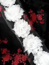 """C665 White Rose Sewing Trim 2.5"""""""
