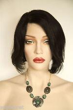 Black Brunette Short Human Hair  Straight Wigs