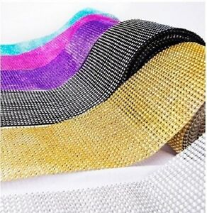 "4.5"" Diamond Mesh Rhinestone Crystal Ribbon Wrap 1yd 5yd 10yd Table decoration"