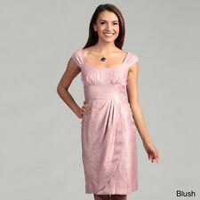 London Times Cap Sleeve Shimmer Wrap Skirt Dress-Pink Blush-Size: 12