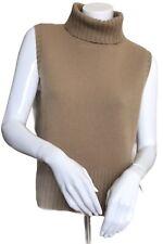 RALPH LAUREN Size Medium Tan Cashmere Sleeveless Turtleneck Sweater Ribbing