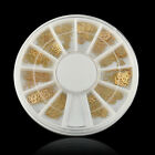 360p HS Noble Gold Mixed Design 3D Metal Glitters Slice Nail Art Decoration Case