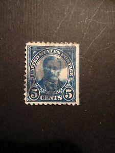 USA stamp story 5c  errore blue linea  non perf  destra annullo particolare perf