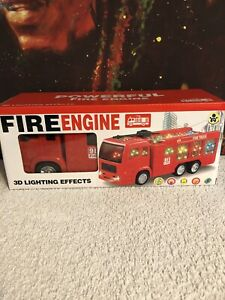 Electric Fire Engine Truck Toy 3D LED Lighting and Sounds NIB 3+