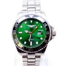 021P Men's New Vintage Style Wrist Watch Silver Metal Strap Luxury Green Dial