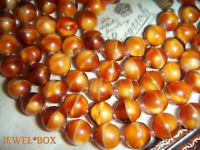 ART DECO VENETIAN MARBLED TOFFEE BEADS KNOTTED VINTAGE LONG  FLAPPER NECKLACE