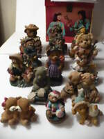 ESTATE SALE ON LOT OF 15 TEDDY BEARS, MADE OF RESIN, AND OTHER MATERIALS