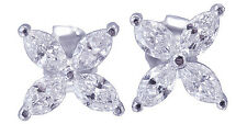 18K WHITE GOLD MARQUISE CUT DIAMONDS EARRINGS PRONG SET PUSHBACKS 1.60CTW
