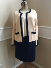 Vintage French Rags Knit Blouse Sweater Shirt Cardigan Skirt Set Navy Size 2/3