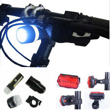 Waterproof 5 LED Lamp Bicycle Bike Front Head Light + Rear Safety Flashlight New