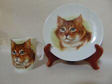 Maine Coon Cat - 2 Vintage Schumann Arzberg Plates, 1 Mug - Bavaria
