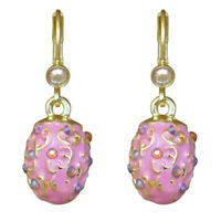 Kirks Folly Elegant Easter Egg Leverback Earrings Goldtone/Pink