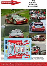 DECALS 1/24 REF 942 PEUGEOT 206 WRC BERNARDI RALLYE ALSACE VOSGES 2005 RALLY