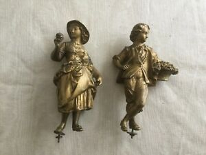 Antique French Figural Clock Statues Couple Gathering Grapes Godet