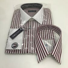 """NEW DOUBLE TWO Red White Stripe Cotton Adjustable Shirt Men Collar 16"""" 41cm 3711"""