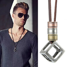 Cool Men's Women's Retro Leather Rope Hollow Cube Luxury Pendant Choker Necklace