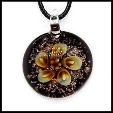 Fashion Women's round lampwork Murano art glass beaded pendant necklace #A182