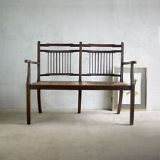 More details for vintage early 20th century window seat bench turned legs rush wicker 2 seater