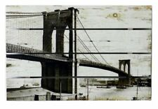Quadro vintage targa tabella legno dipinto Brooklyn bianco nero 60x40