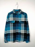 Vintage Mens Flannel Shirt Tony Hawk Size L Blue Check Long Sleeve 100% Cotton