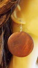 LARGE CIRCLE WOOD BOHEMIAN EARRINGS 2.25 INCH HOOP EARRINGS LIGHTWEIGHT