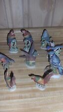 Huge Lefton Lot of 9 bird s, Pleasant, Parrot, Macaw, Blue Jay, Bluebird, exc