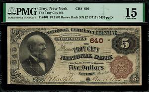 1882 $5 National Troy, New York Brown Back FR.467 Charter 640 - PMG 15