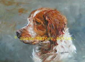 SALE Brittany Signed Dog Print by Susan Harper Unmounted