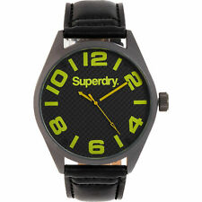 Superdry Men's Black Stainless Case & Black Leather Strap Analogue Quartz Watch