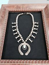 NAVAJO PAWN TURQUOISE SILVER SQUASH BLOSSOM NECKLACE