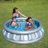 Kids Swimming Garden Summer Inflatable Spaceship Paddling Pool New Grey.