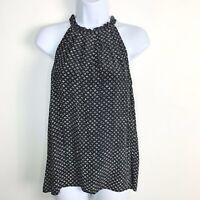 Cynthia Rowley Women Top Sz S Black White Print High Neck Sleeveless Blouse HV58