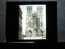 VINTAGE COLLECTIBLE GLASS PICTURE NEGATIVE Cathedral Rheims France
